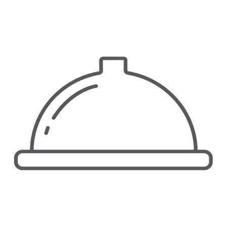 Serving tray thin line icon, food and restaurant, dish sign, vector graphics, a linear pattern on a white background.