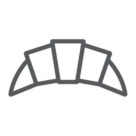 Croissant line icon, food and delicious, bakery sign, vector graphics, a linear pattern on a white background.