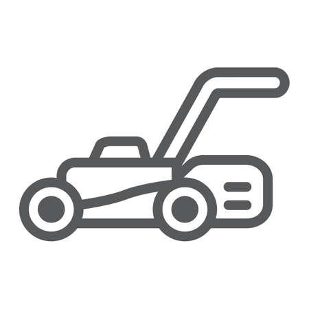 Icône de ligne de tondeuse à gazon, équipement et jardin, signe de coupeur, graphiques vectoriels, un dessin linéaire sur un fond blanc.