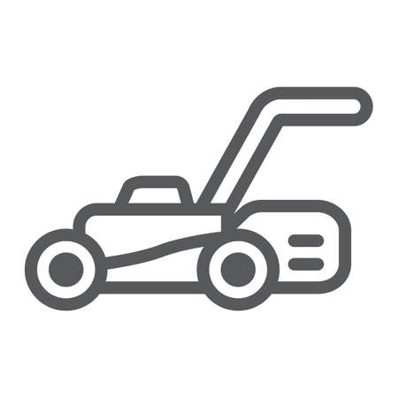 Lawn mover line icon, equipment and garden, cutter sign, vector graphics, a linear pattern on a white background.