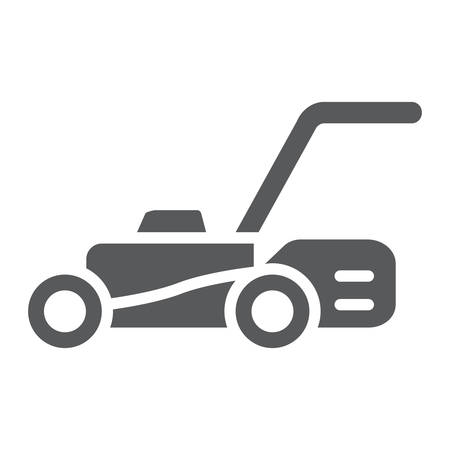 Lawn mover glyph icon, equipment and garden, cutter sign, vector graphics, a solid pattern on a white background.