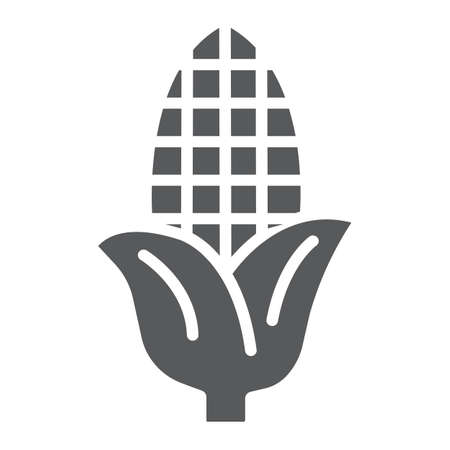 Corn glyph icon, farm and harvest, sweetcorn sign, vector graphics, a solid pattern on a white background.  イラスト・ベクター素材