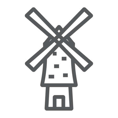 Windmill line icon, energy and wind, mill sign, vector graphics, a linear pattern on a white background. Reklamní fotografie - 119245563