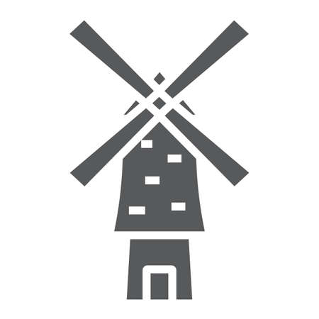Windmill glyph icon, energy and wind, mill sign, vector graphics, a solid pattern on a white background.