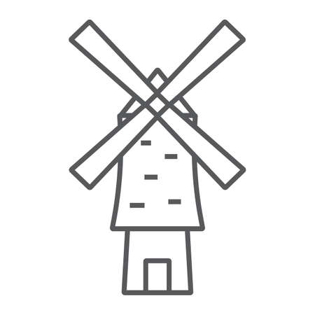 Windmill thin line icon, energy and wind, mill sign, vector graphics, a linear pattern on a white background.