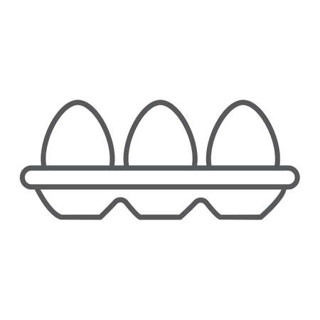 Tray with eggs thin line icon, food and nutrition, eggs container sign, vector graphics, a linear pattern on a white background. Illustration