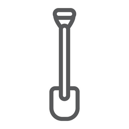 Shovel line icon, tool and farm, digger sign, vector graphics, a linear pattern on a white background.