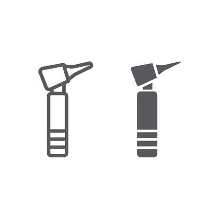 Otoscope line and glyph icon, medicine and equipment, hospital tool sign, vector graphics, a linear pattern on a white background.