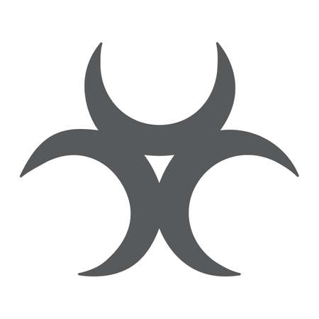 Biological threat glyph icon, alert and symbol, biohazard sign, vector graphics, a solid pattern on a white background.