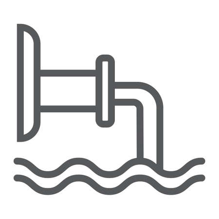 Waste pipe line icon, industrial and water, wastewater sign, vector graphics, a linear pattern on a white background. Illustration