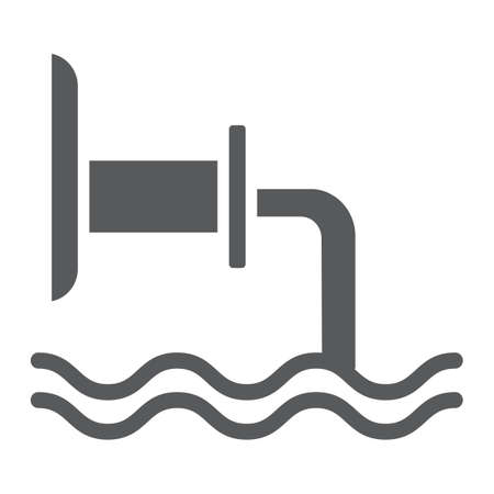 Waste pipe glyph icon, industrial and water, wastewater sign, vector graphics, a solid pattern on a white background.