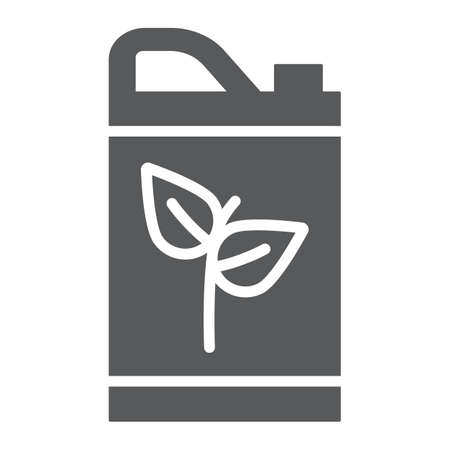 Eco fuel glyph icon, bio and barrel, canister sign, vector graphics, a solid pattern on a white background. Illustration