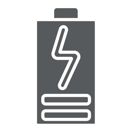 Battery load glyph icon, electric and power, energy charge sign,