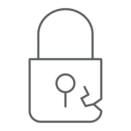 Lock breach thin line icon, privacy and protect, padlock sign, vector graphics, a linear pattern on a white background. Imagens - 119245091