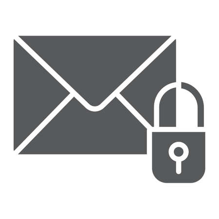 Email protection glyph icon, mail and security, envelope sign, vector graphics, a solid pattern on a white background. 일러스트