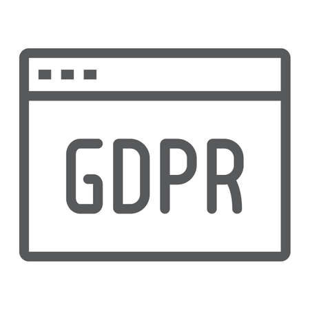 Gdpr site line icon, webpage and website, browser sign, vector graphics, a linear pattern on a white background.