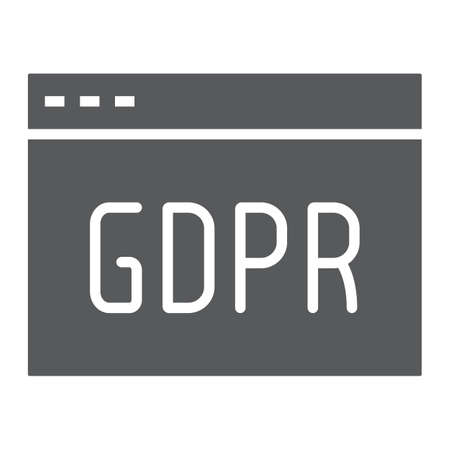 Gdpr site glyph icon, webpage and website, browser sign, vector graphics, a solid pattern on a white background. Illustration