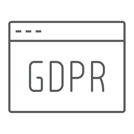 Gdpr site thin line icon, webpage and website, browser sign, vector graphics, a linear pattern on a white background.