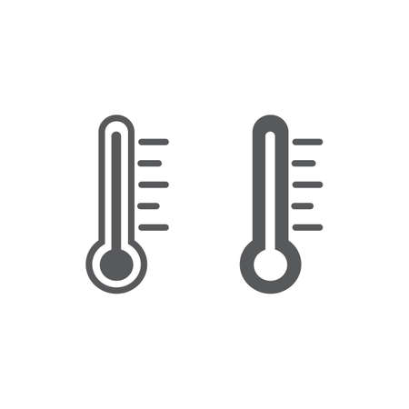 Thermometer line and glyph icon, measurement and instrument, temperature sign, vector graphics, a linear pattern on a white background.