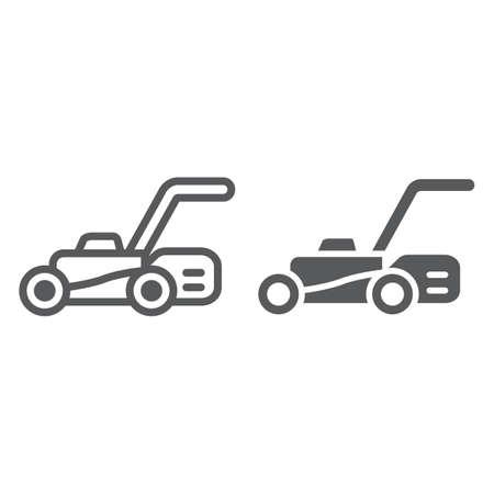Icône de ligne et de glyphe de tondeuse à gazon, équipement et jardin, signe de coupeur, graphiques vectoriels, un dessin linéaire sur un fond blanc.