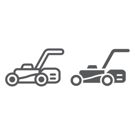 Lawn mover line and glyph icon, equipment and garden, cutter sign, vector graphics, a linear pattern on a white background.