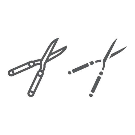 Secateurs line and glyph icon, equipment and garden, scissors sign, vector graphics, a linear pattern on a white background.
