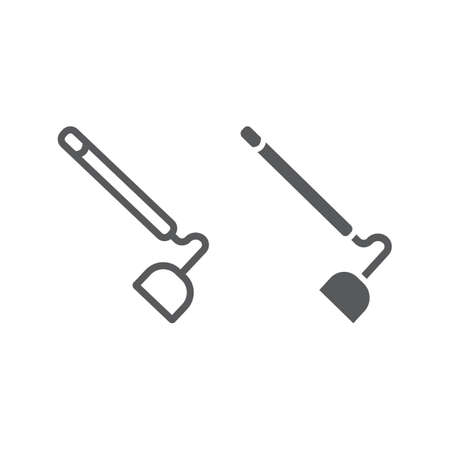 Hoe line and glyph icon, equipment and agriculture, tool sign, vector graphics, a linear pattern on a white background.