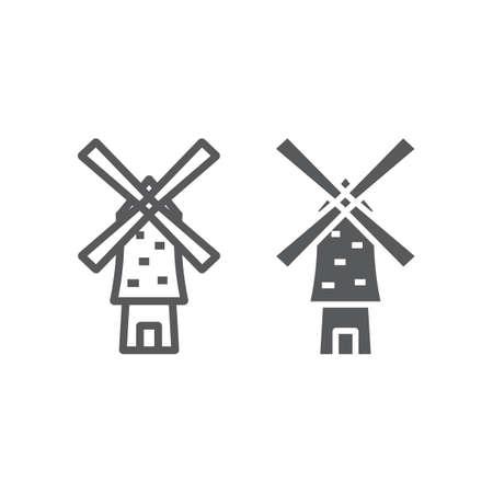 Ikona linii i glifów wiatrak, energia i wiatr, znak młyna, grafika wektorowa, liniowy wzór na białym tle. Ilustracje wektorowe