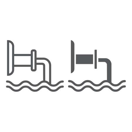 Waste pipe line and glyph icon, industrial and water, wastewater sign, vector graphics, a linear pattern on a white background.