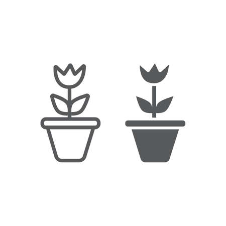 Flower in pot line and glyph icon, gardening and grow, plant sign, vector graphics, a linear pattern on a white background. Ilustração
