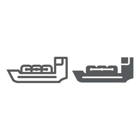 Tanker line and glyph icon, boat and ship, vessel sign, vector graphics, a linear pattern on a white background.