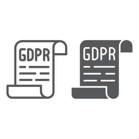 GDPR policy line and glyph icon, privacy and protect, gdpr document sign, vector graphics, a linear pattern on a white background. Vettoriali