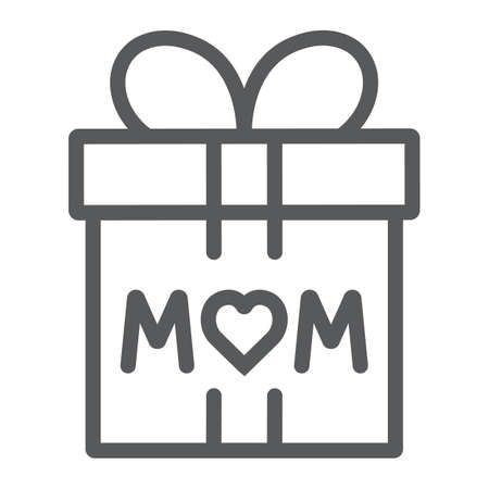 Gift for mom line icon, present and holiday, mom gift box sign, vector graphics, a linear pattern on a white background.