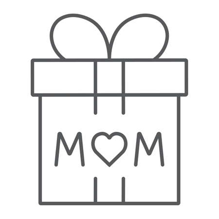 Gift for mom thin line icon, present and holiday, mom gift box sign, vector graphics, a linear pattern on a white background. Vectores