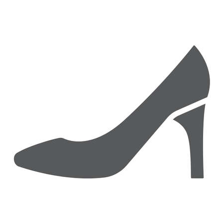 Women shoes glyph icon, female and footwear, high heel sign, vector graphics, a solid pattern on a white background.