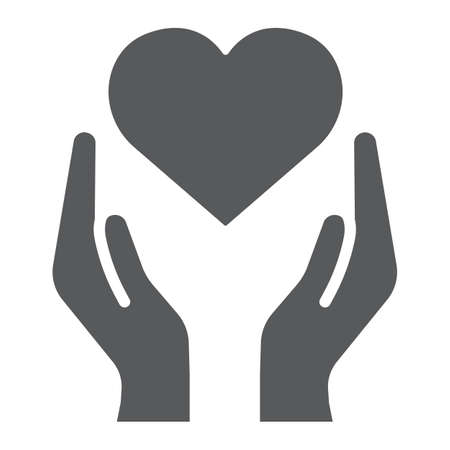 Heart in hands glyph icon, love and care, arms with heart sign, vector graphics, a solid pattern on a white background. Standard-Bild - 121206364