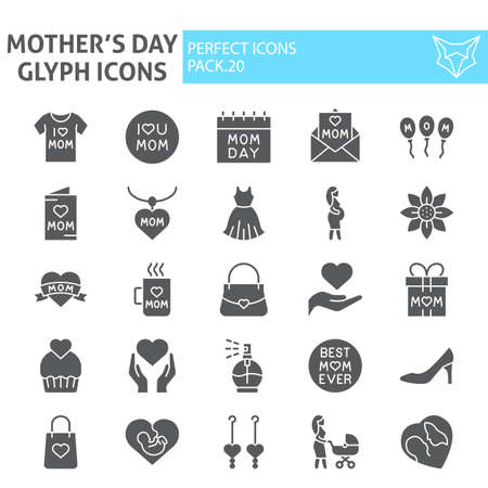 Mothers day glyph icon set, motherhood symbols collection, vector sketches, logo illustrations, mom signs solid pictograms package isolated on white background.