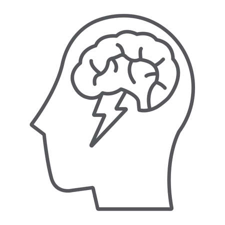 Brainstorm thin line icon, creative and idea, brain and thunder sign, vector graphics, a linear pattern on a white background.  イラスト・ベクター素材
