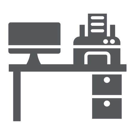Computer desk glyph icon, office and table, workplace sign, vector graphics, a solid pattern on a white background.