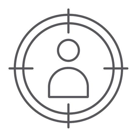 Le persone prendono di mira l'icona della linea sottile, il targeting e la messa a fuoco, la persona nel segno di mira, la grafica vettoriale, un modello lineare su uno sfondo bianco.