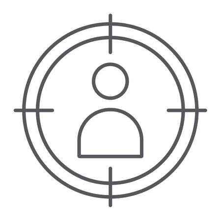 People target thin line icon, targeting and focus, person in aim sign, vector graphics, a linear pattern on a white background.