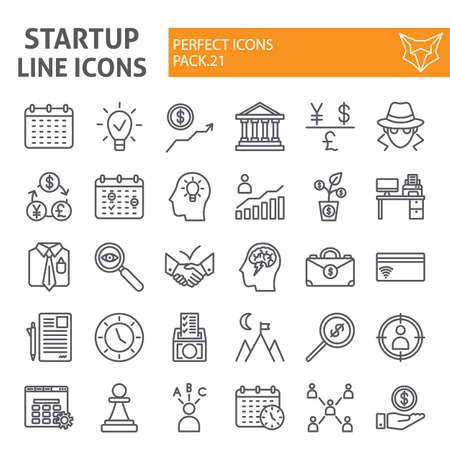 Set di icone della linea di avvio, raccolta di simboli finanziari, schizzi vettoriali, illustrazioni di logo, pacchetto di pittogrammi lineari di segni di sviluppo isolato su priorità bassa bianca.
