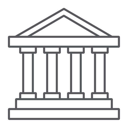 Bank building thin line icon, architecture and column, house sign, vector graphics, a linear pattern on a white background. Ilustración de vector