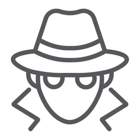 Ikona linii oszustwa, anonimowość i agent, znak szpiegowski, grafika wektorowa, liniowy wzór na białym tle. Ilustracje wektorowe