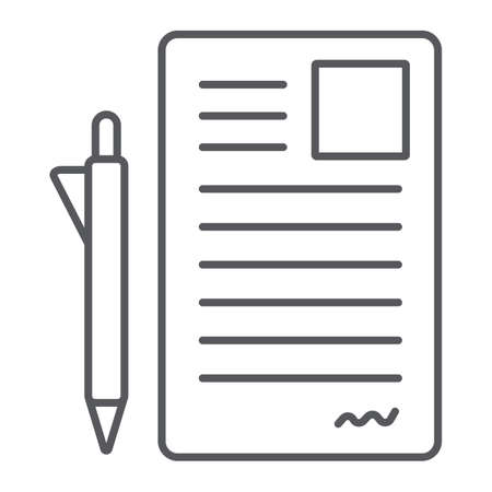 Document and pen thin line icon, office and paper, sign form sign, vector graphics, a linear pattern on a white background.