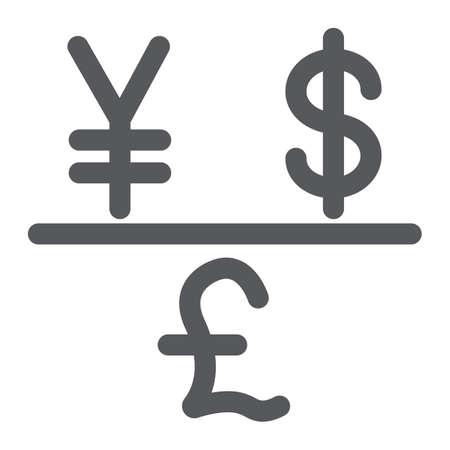 Icona del glifo con valuta, finanziaria e banca, segno dei soldi, grafica vettoriale, un modello solido su sfondo bianco. Vettoriali