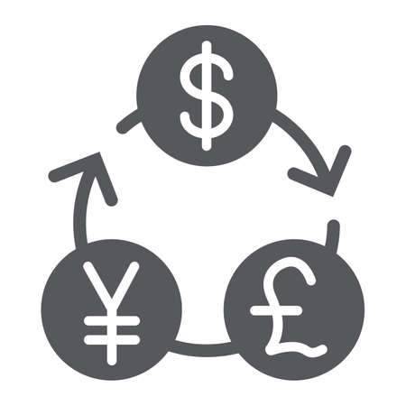 Currency exchange glyph icon, financial and bank, money sign, vector graphics, a solid pattern on a white background. Ilustrace
