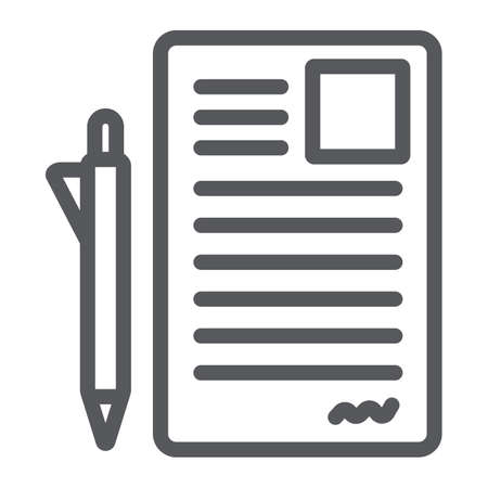 Document and pen line icon, office and paper, sign form sign, vector graphics, a linear pattern on a white background. Illustration