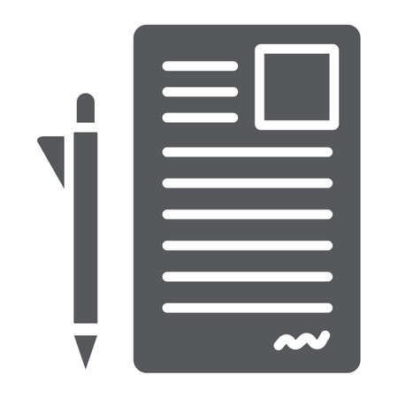 Document and pen glyph icon, office and paper, sign form sign, vector graphics, a solid pattern on a white background. Illustration