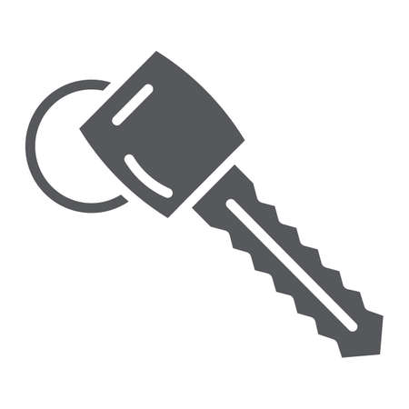 Car key glyph icon, auto and security, unlock sign, vector graphics, a solid pattern on a white background.